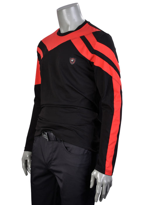 Black Red Colorblock Long Sleeve Tee