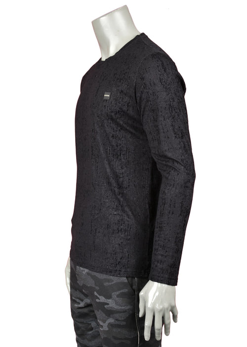Black Textured Long Sleeve Tee