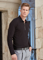 Black Thick Zipper Long Sleeve Polo