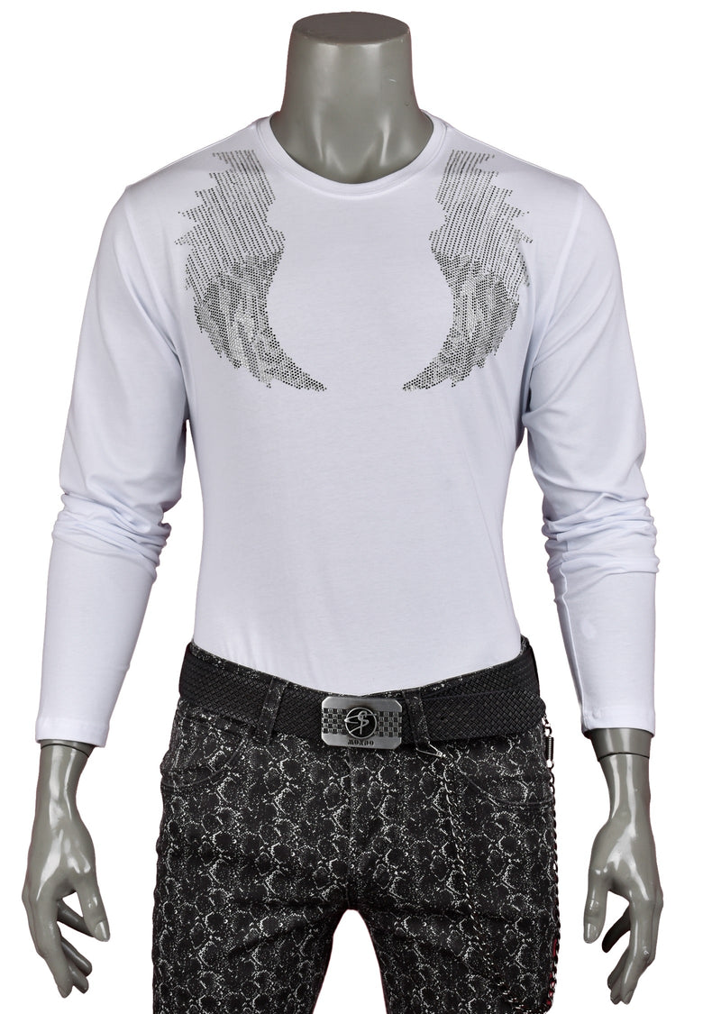 White Wings Rhinestone Long Sleeve Tee