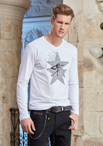 White Star Rhinestone Long Sleeve Tee