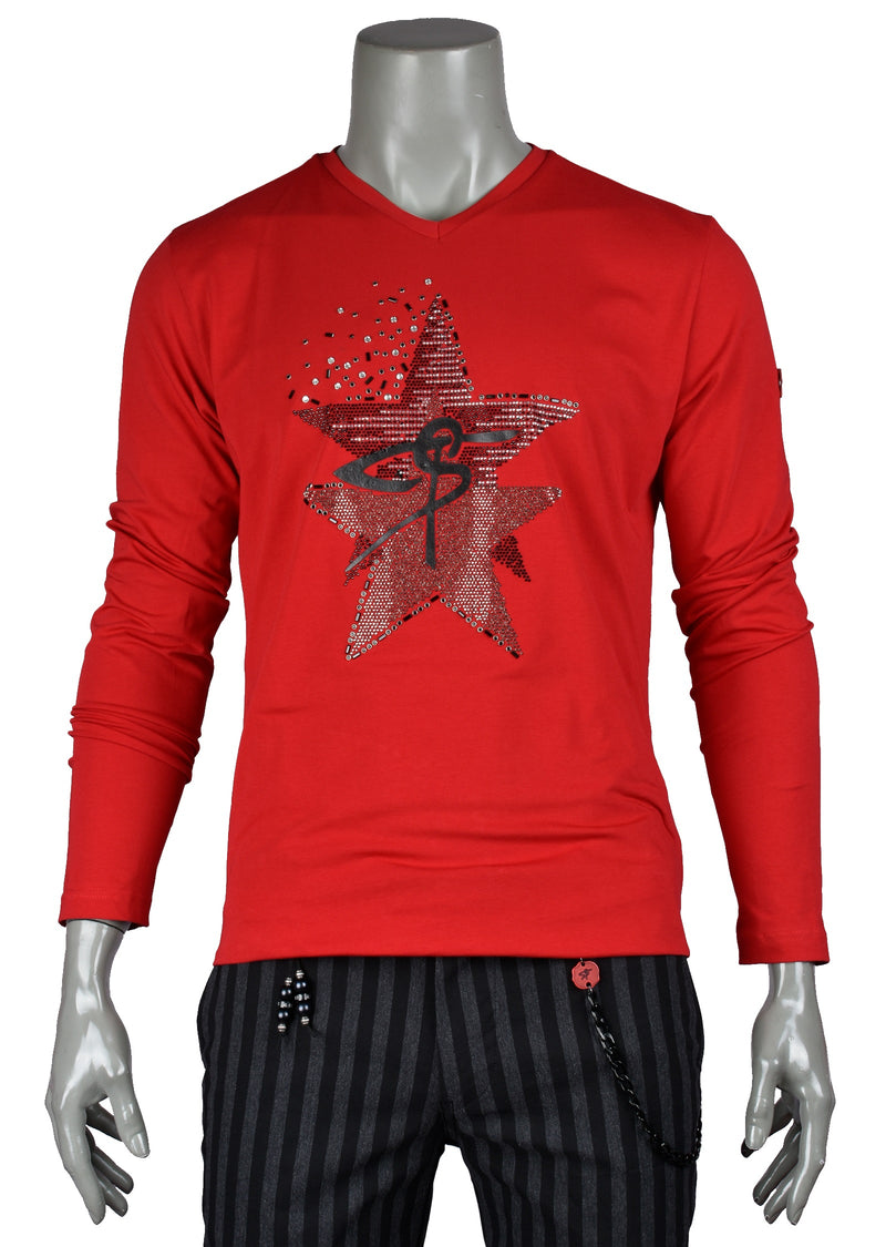 Red Star Rhinestone Long Sleeve Tee