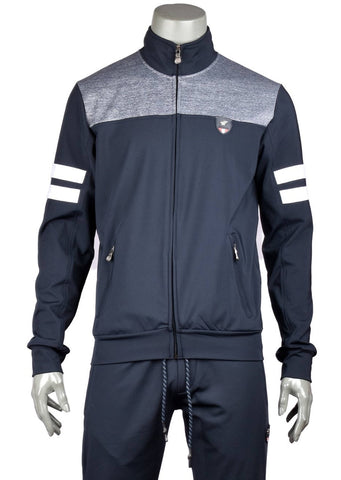 Navy Gray White Colorblock Tracksuit