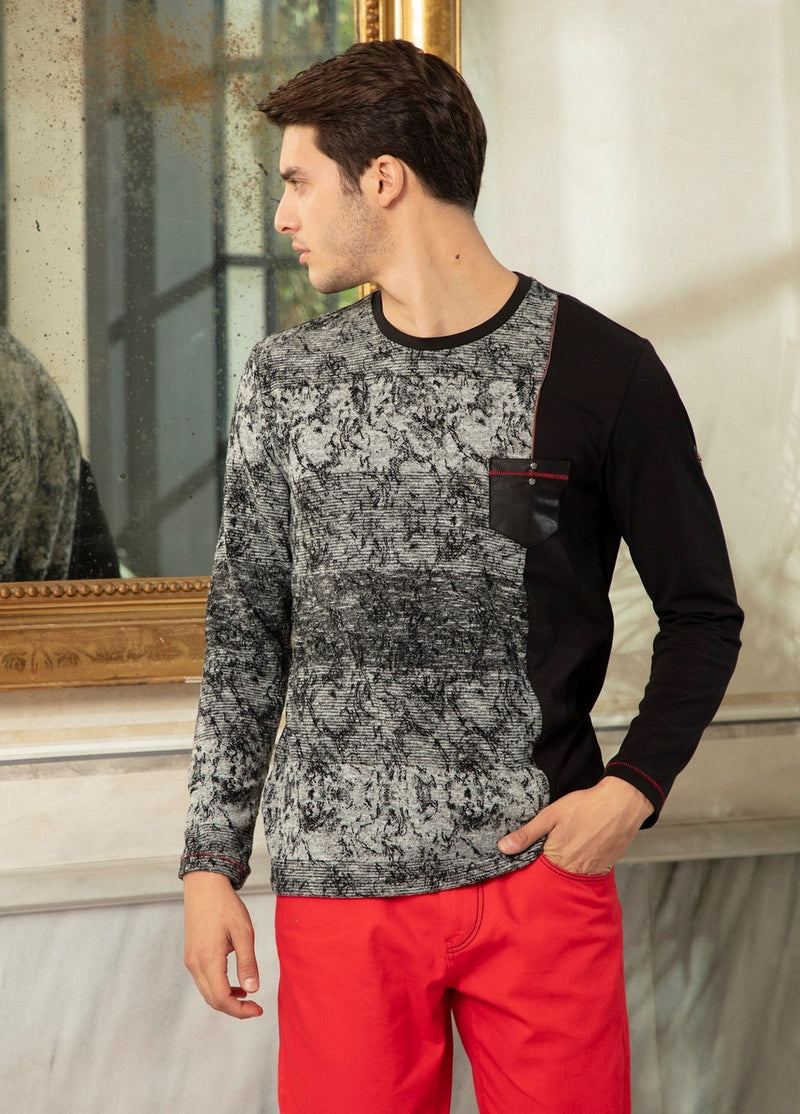 "Black ""Two fabric Combination"" Knit Sweater"