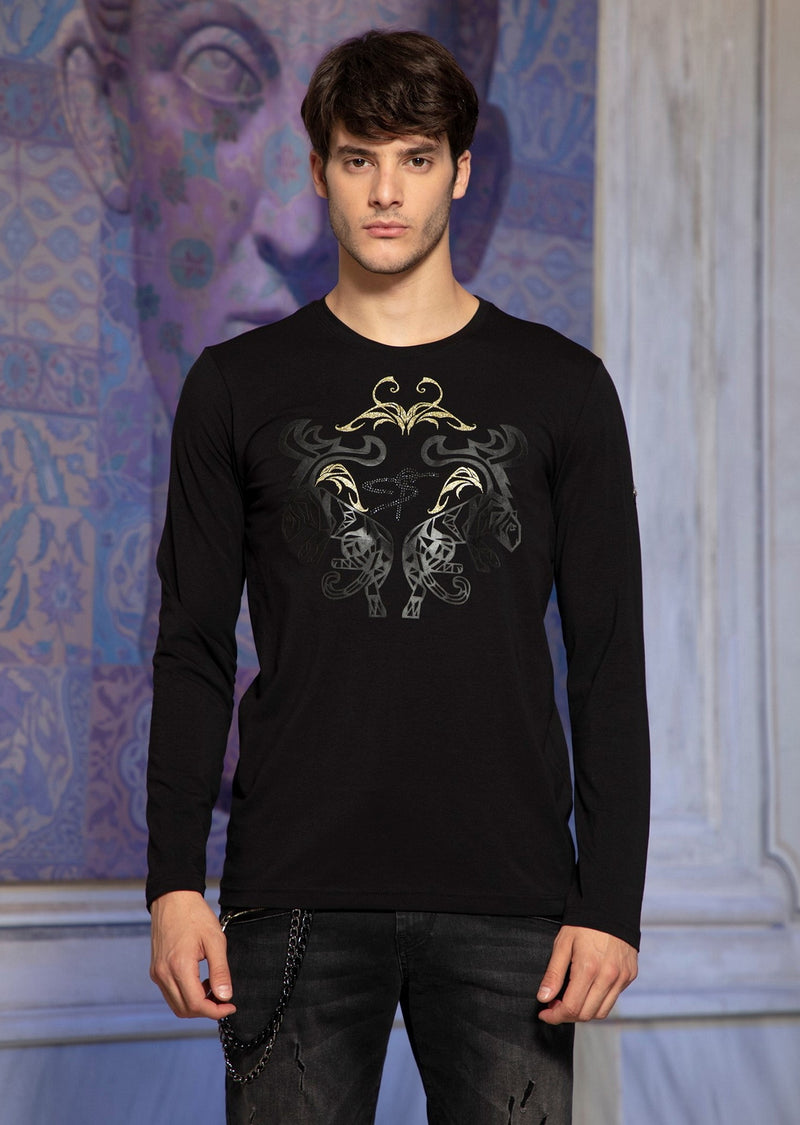 Black Gold Tiger Foil & Rhinestone Long Sleeve Tee