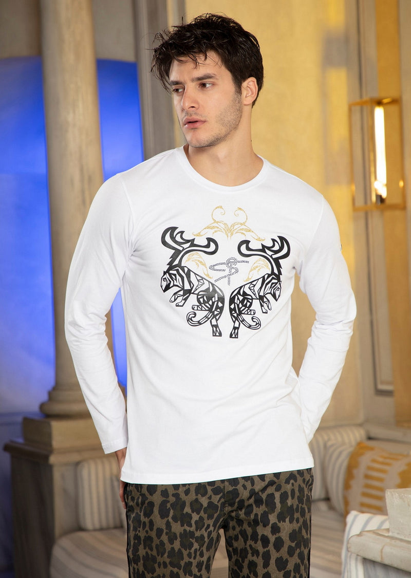 White Gold Tiger Foil & Rhinestone Long Sleeve Tee
