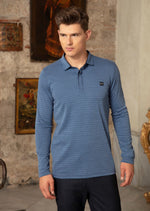 Blue Horizontal Stripe Polo