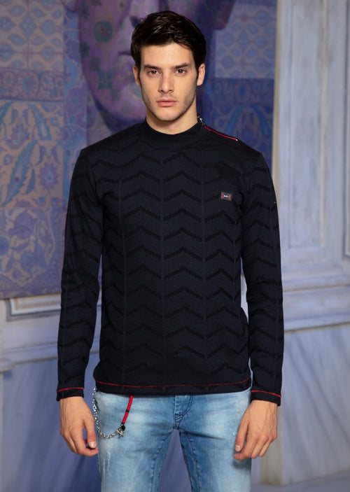 Navy Red Zipper Turtle Neck Sweater