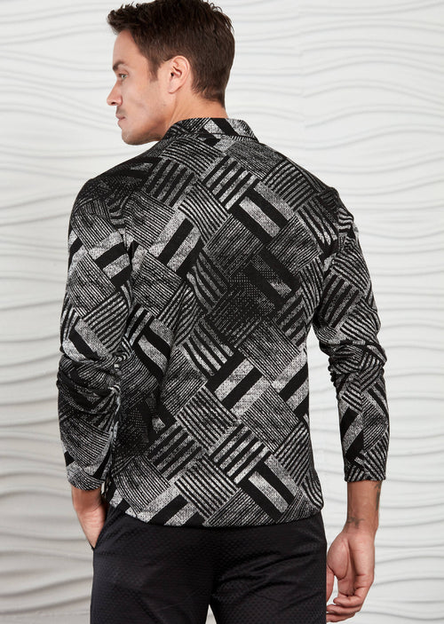 Black Brush Pattern Long Sleeve Polo