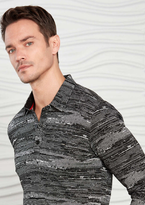 Gray Marled Knit Long Sleeve Polo