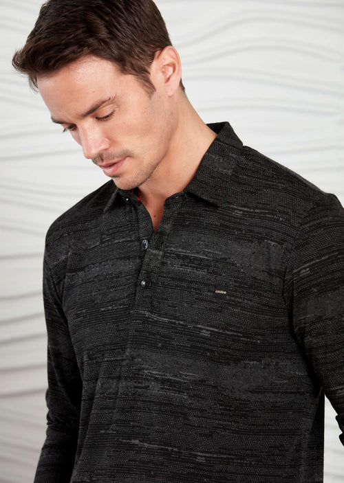 Black Marled Knit Long Sleeve Polo