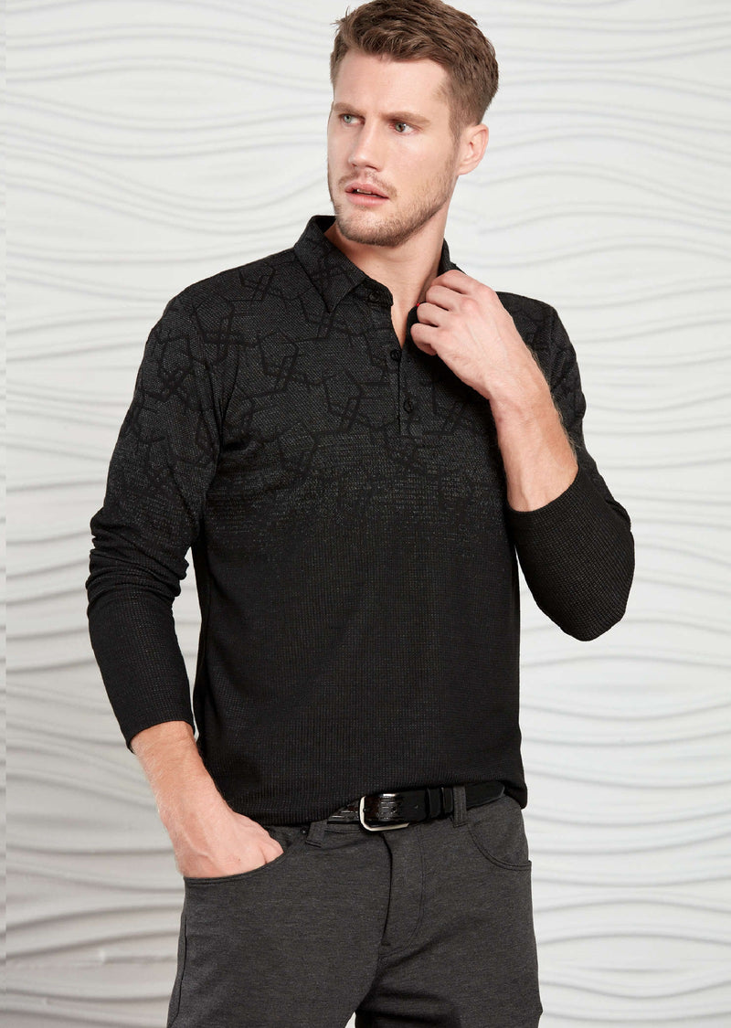 Black Two-tone Degraded Polo