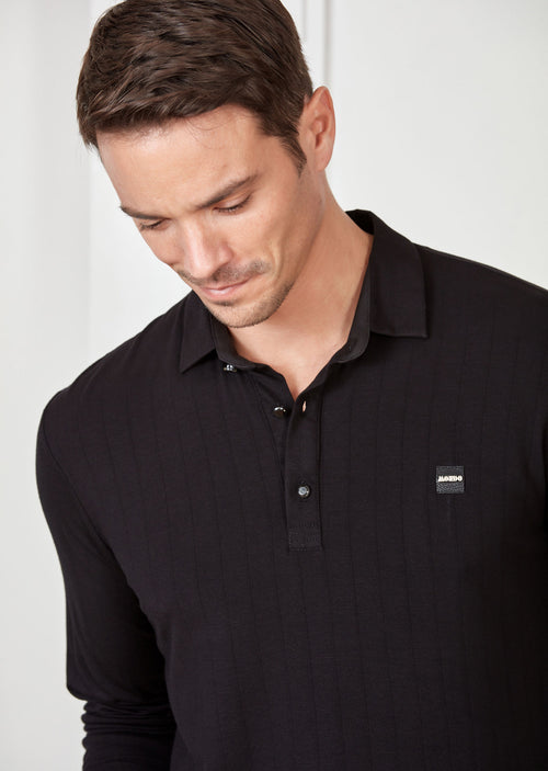 Black Tonal Stripe Polo