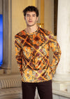 Orange Tiger Print Velour Sweater