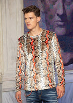 Brown Snake Print Velour Sweater