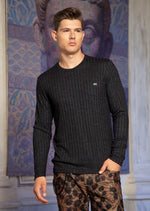 Gray Tonal Stripe Casual Sweater