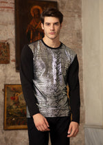 Black Silver Alligator Print  Long Sleeve Tee