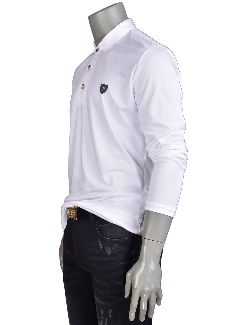 White Gold Luxe Long Sleeve Polo