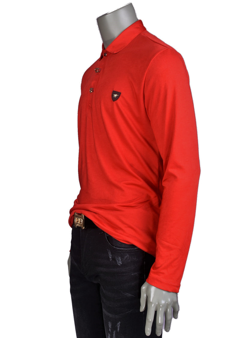 Red Gold Luxe Long Sleeve Polo
