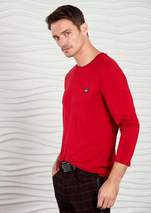 Red Tonal Stripe Dressy Long Sleeve Tee