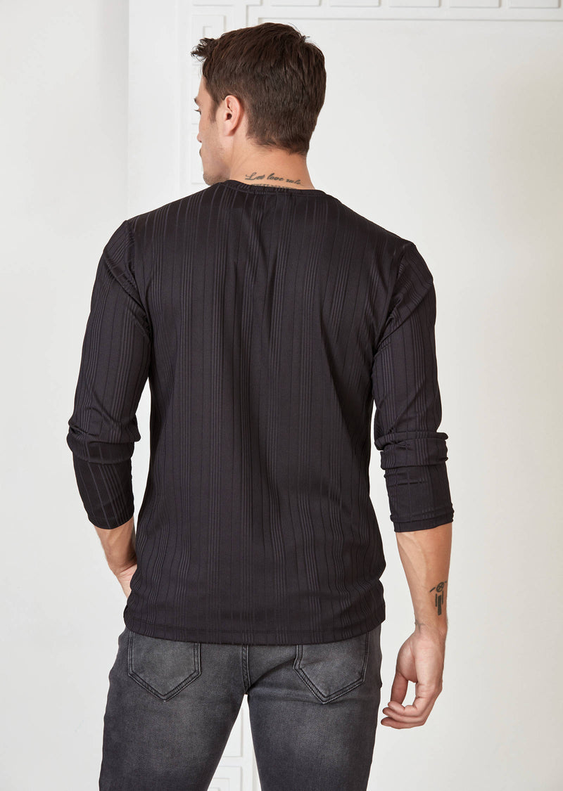 Black Tonal Stripe Tech Long Sleeve Tee