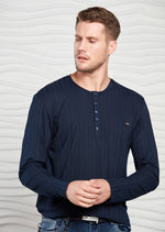 Navy Tonal Stripe Tech Long Sleeve Tee