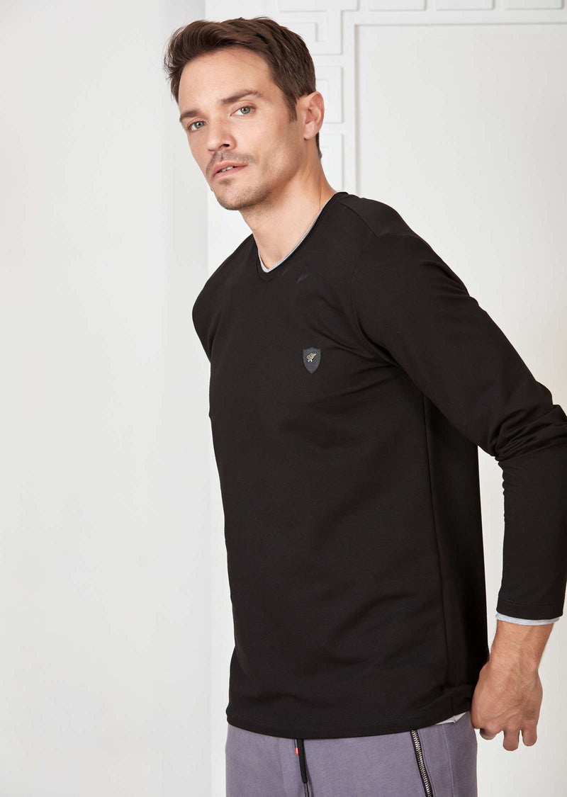 "Black ""Raw Cut Edges"" Long Sleeve Tee"