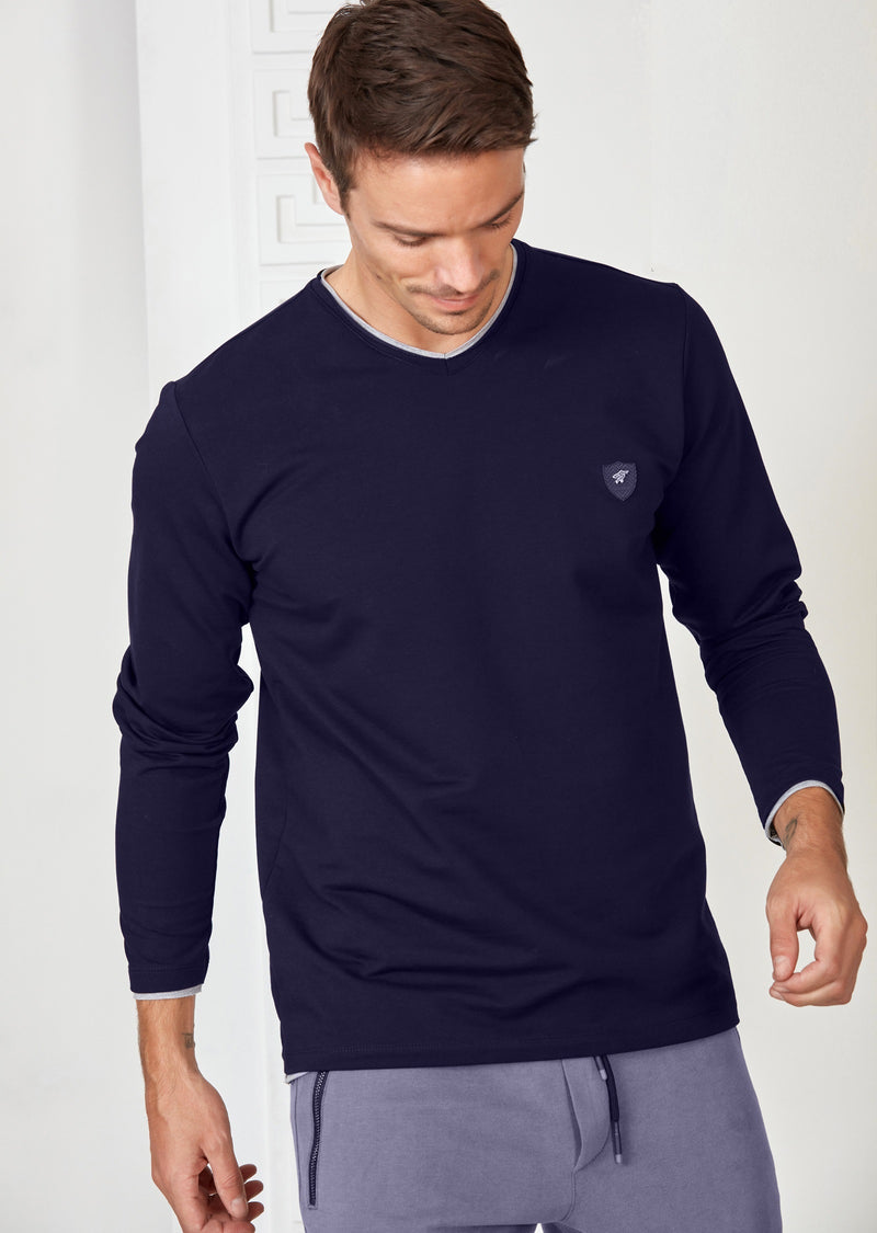 "Navy ""Raw Cut Edges"" Long Sleeve Tee"