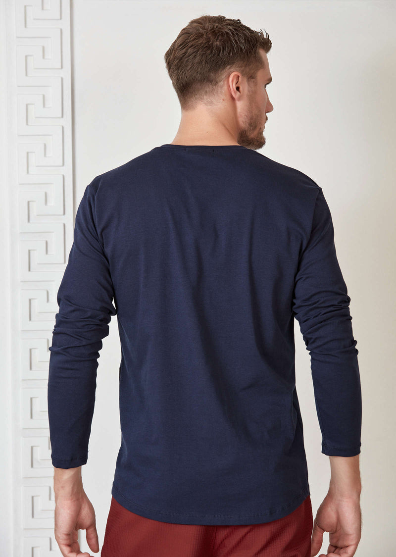 Navy Ribbon Long Sleeve Tee