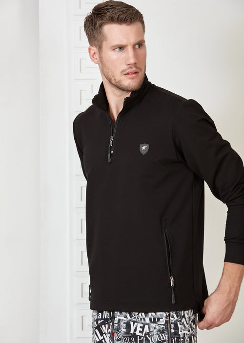 Black Quarter Zip Sweatshirt