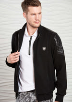 "Black ""Luca."" Quilted Hybrid Jacket"