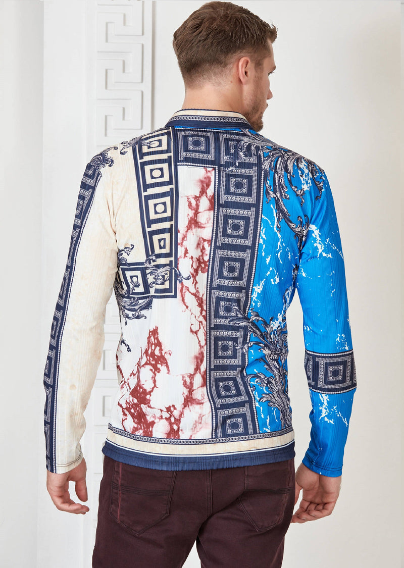 Blue Marble Print Long Sleeve Polo