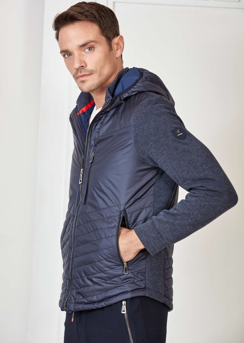 Navy Hooded Hybrid Quilted Jacket
