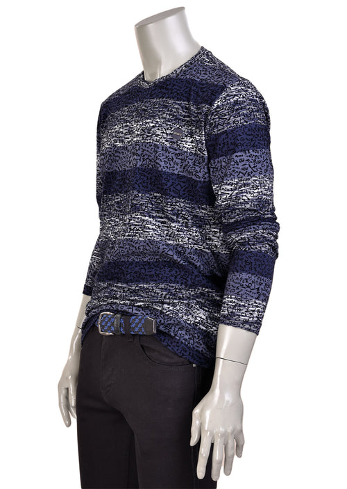 Navy Stripe Flocked Print Sweater