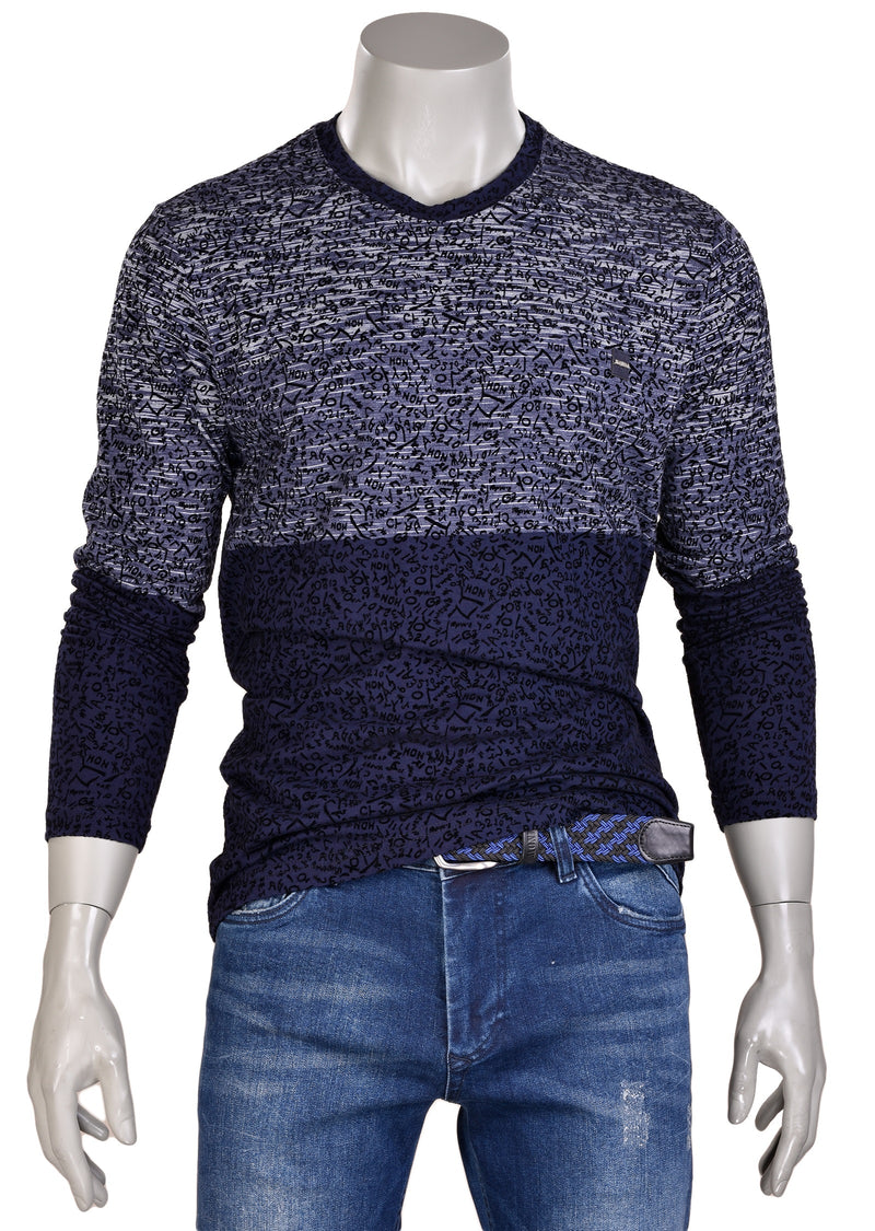 Navy Colorblock Flocked Sweater