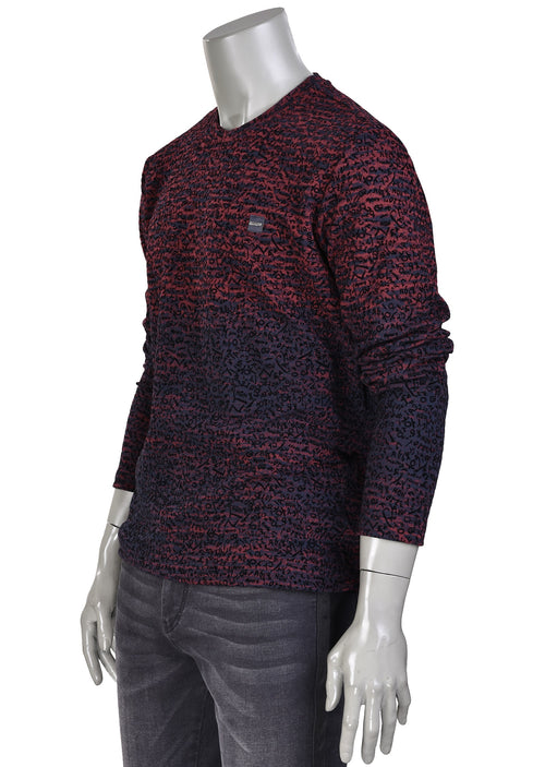 Burgundy Flocked Print Sweater