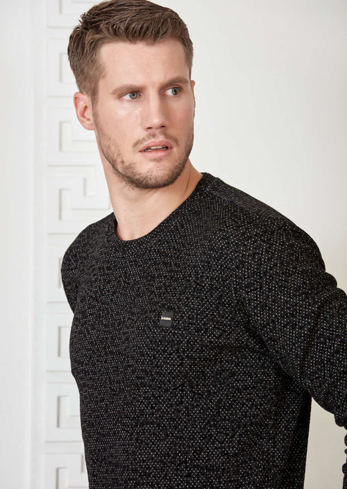 Black Polka dot Flocked Sweater
