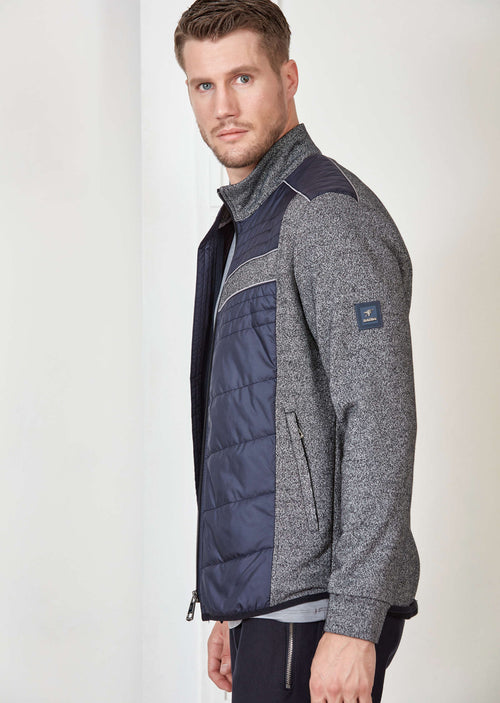 Navy Quilted Panel Hybric Jacket