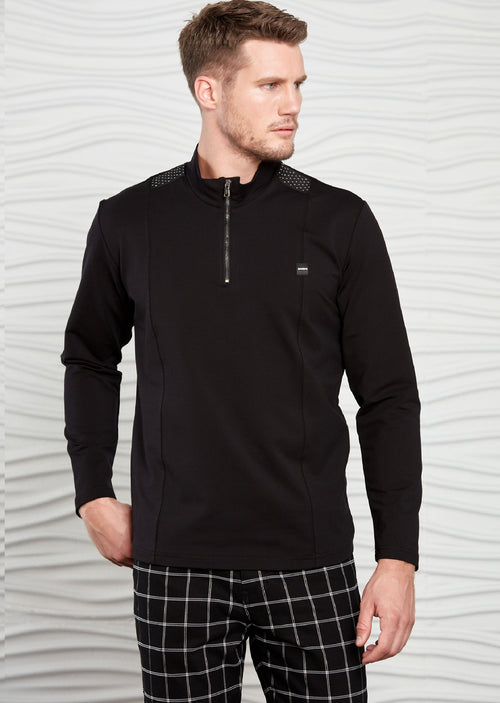 Black Half-Zip Ribbon Sweatshirt