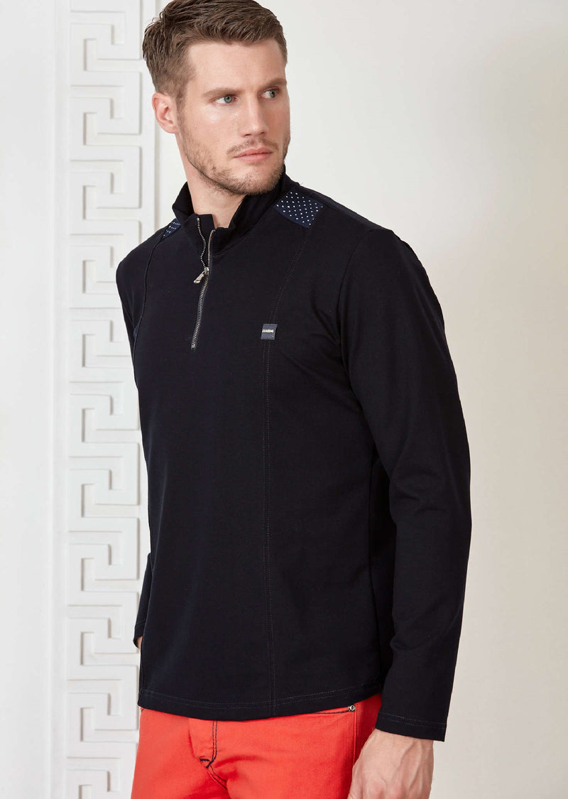 Navy Half-Zip Ribbon Sweatshirt