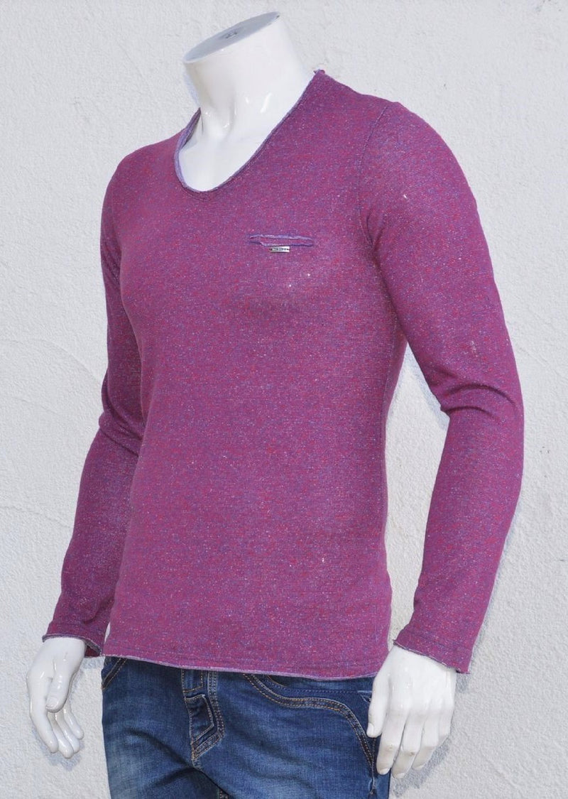 Burgundy Textured Long Sleeve Tee