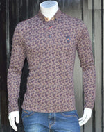 Burgundy Brown Micro Circle Print Sweatshirt