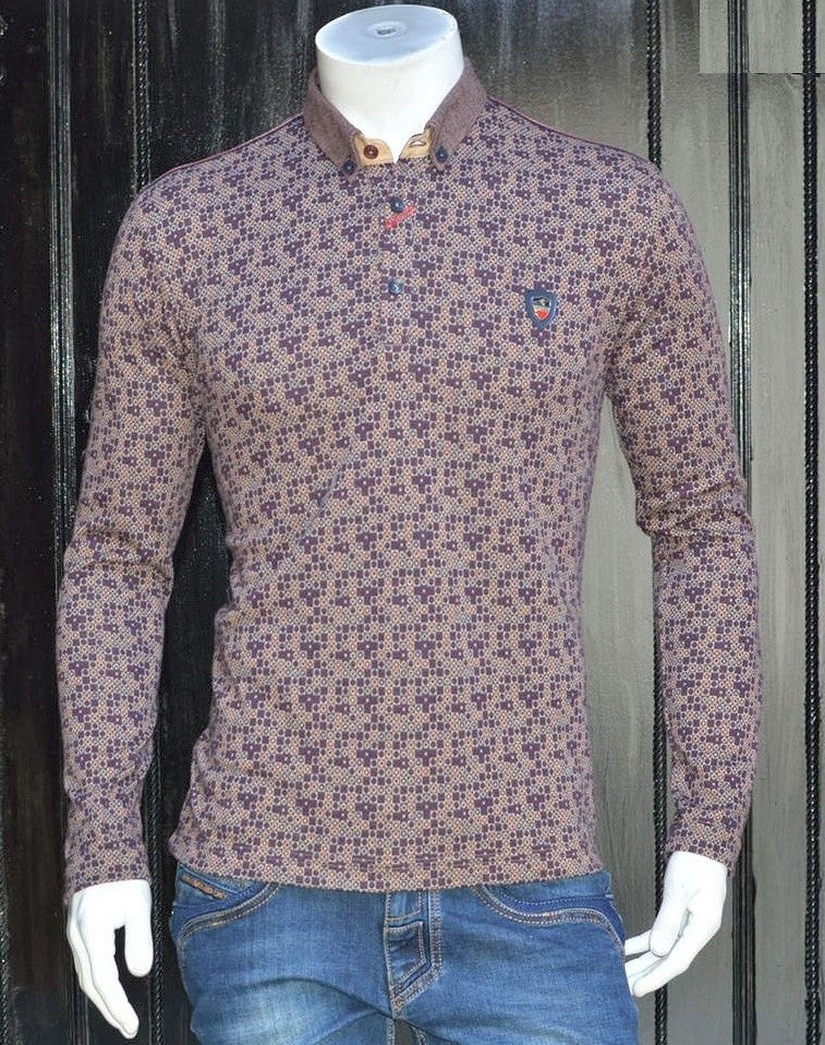 Burgundy Brown Micro Print Sweater