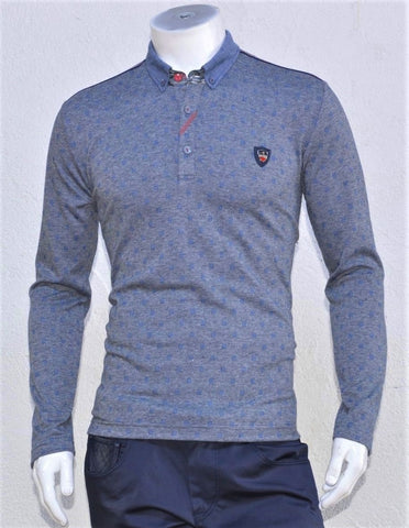 BLUE PRINT KNIT POLO SWEATSHIRT