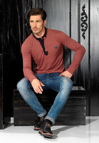 GEO DESIGN POLO BURGUNDY SWEATSHIRT