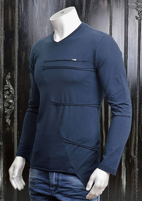 Navy Asymetric Long Sleeve Tee