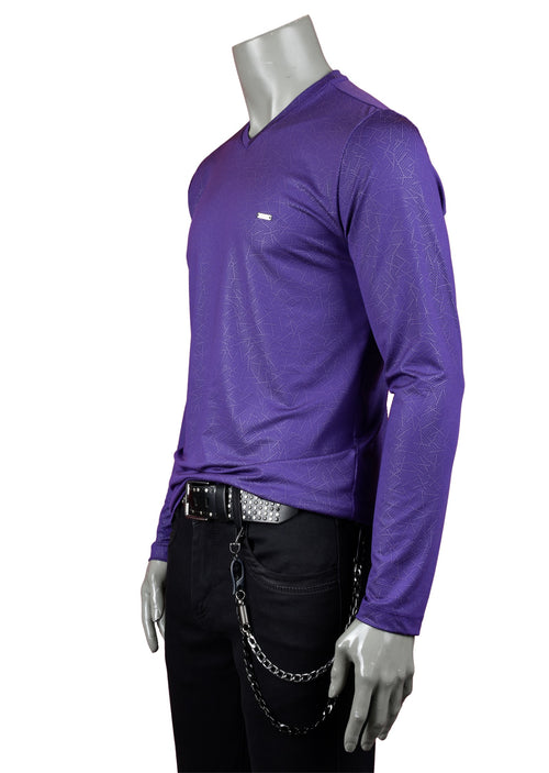 Purple Print Techno Long Sleeve Tee
