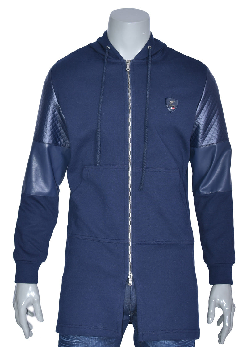 Navy Long Leather Trim Zipper Jacket