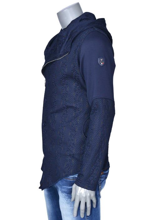 Navy Asymmetric Zipper Jacket