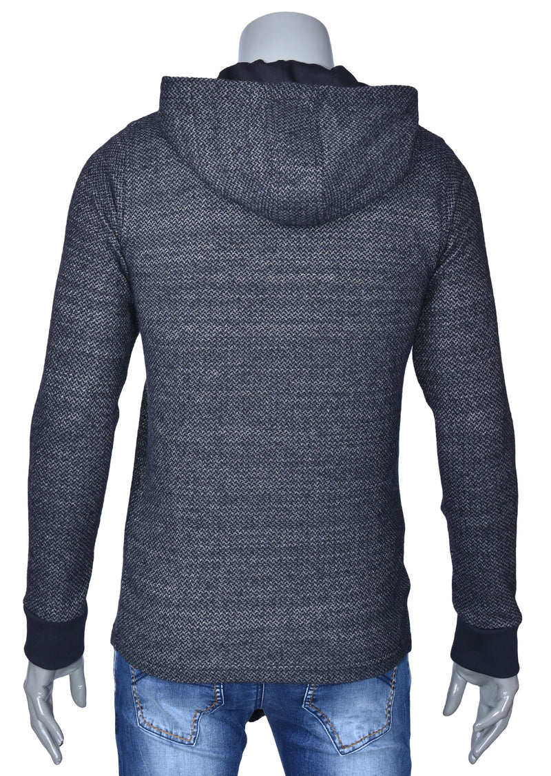 Dark Gray Asymmetric Zip Hooded Sweater